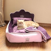 Yicat-Set-of-3-Pet-Bed-Quilt-and-Pillow-Comfortable-Soft-Full-Washable-Pet-Beds-ZEZE-Dog-Kennel-Cotton-Nest-Teddy-Princess-Bed-Cat-Litter-M-6251cm-002Purple-0-180x180